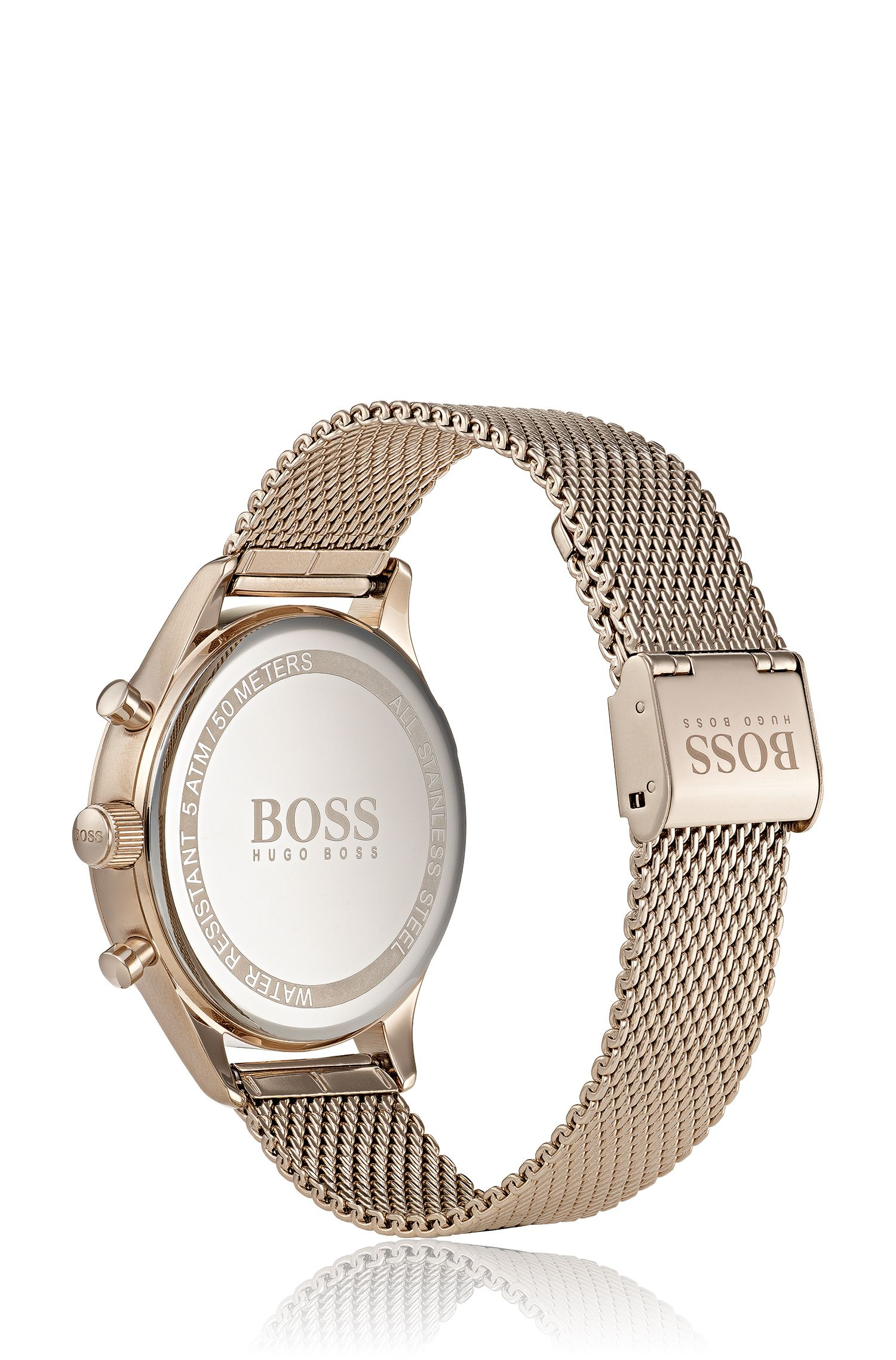 Rose-gold-plated watch with mesh bracelet, Gold