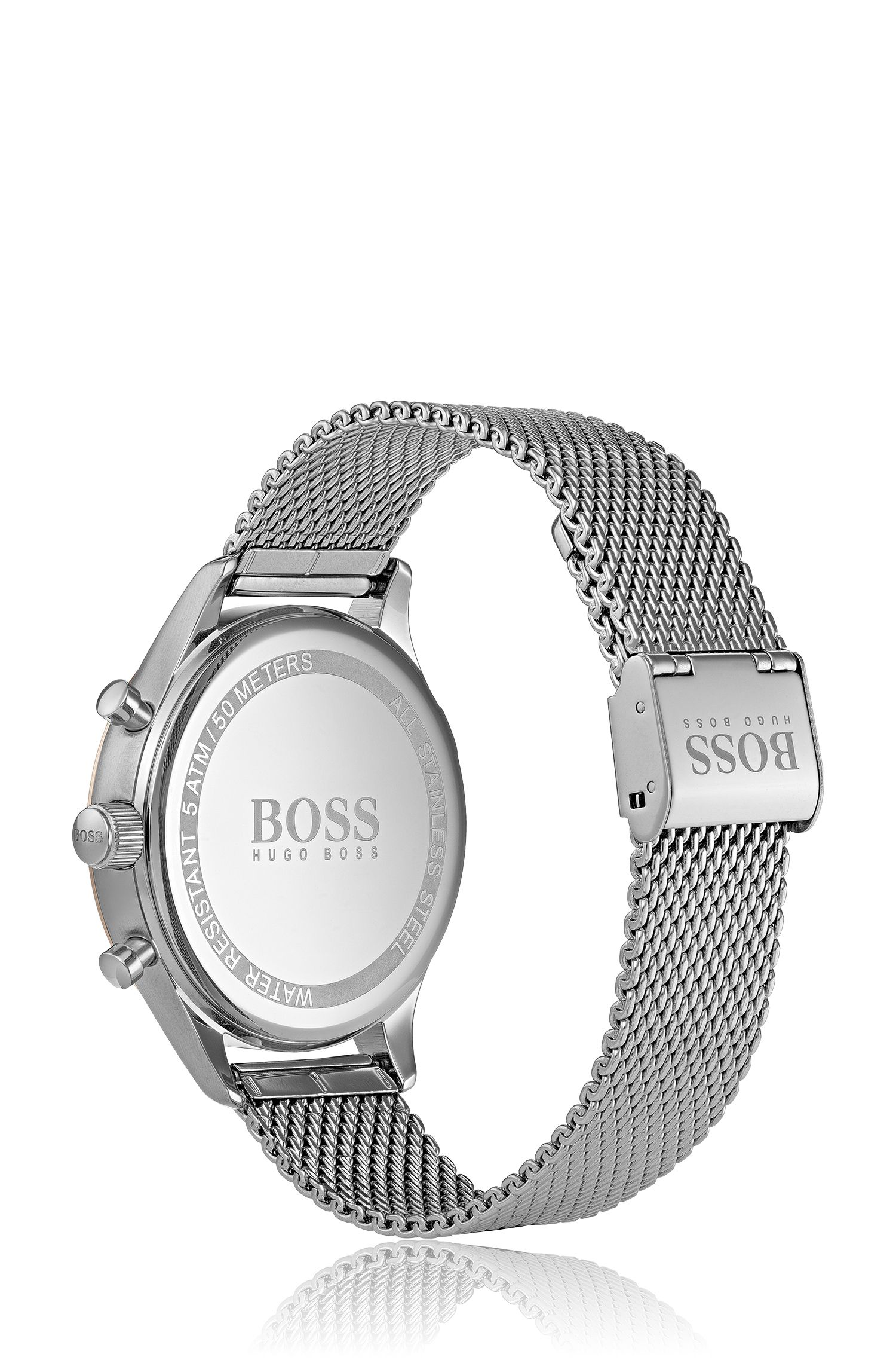Mesh-bracelet watch with luminous hands