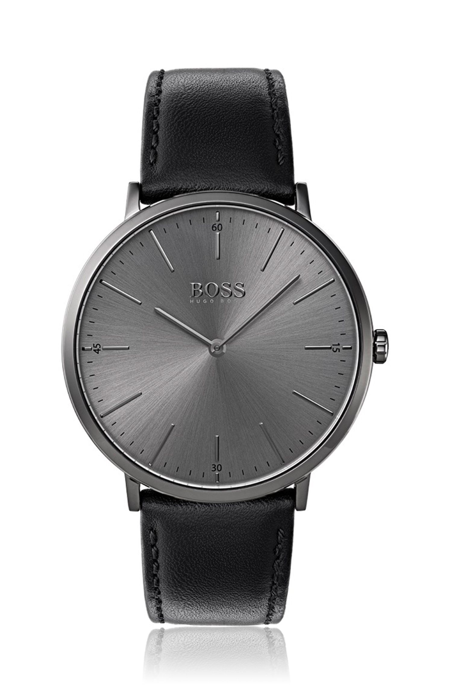 Grey-plated watch with minimal dial and leather strap, Black