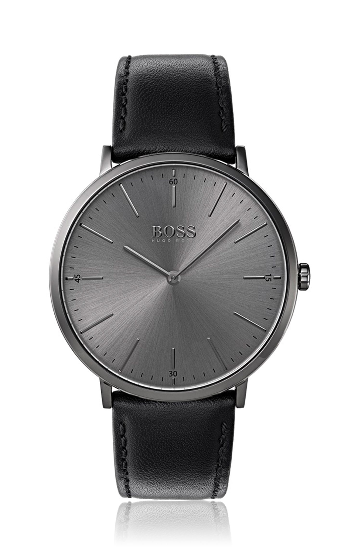 Grey-plated watch with minimal dial and leather strap