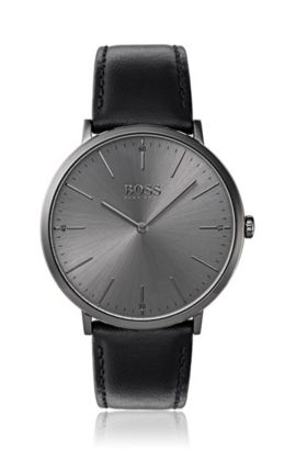 Grey-plated watch with minimal dial and leather strap, Assorted-Pre-Pack