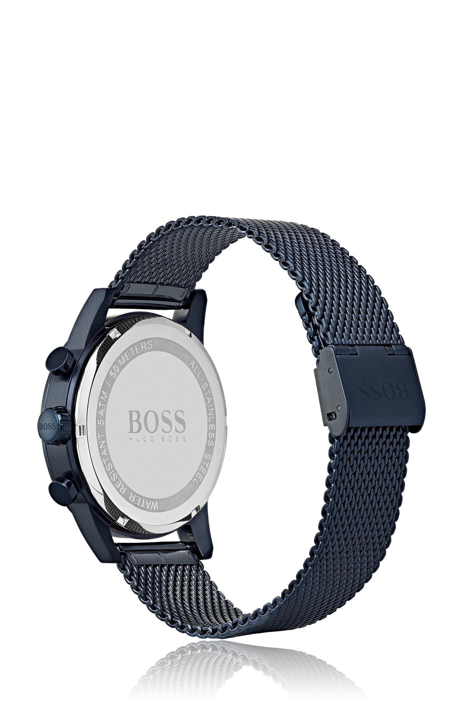 Blue-plated watch with a sliding buckle, Dark Blue
