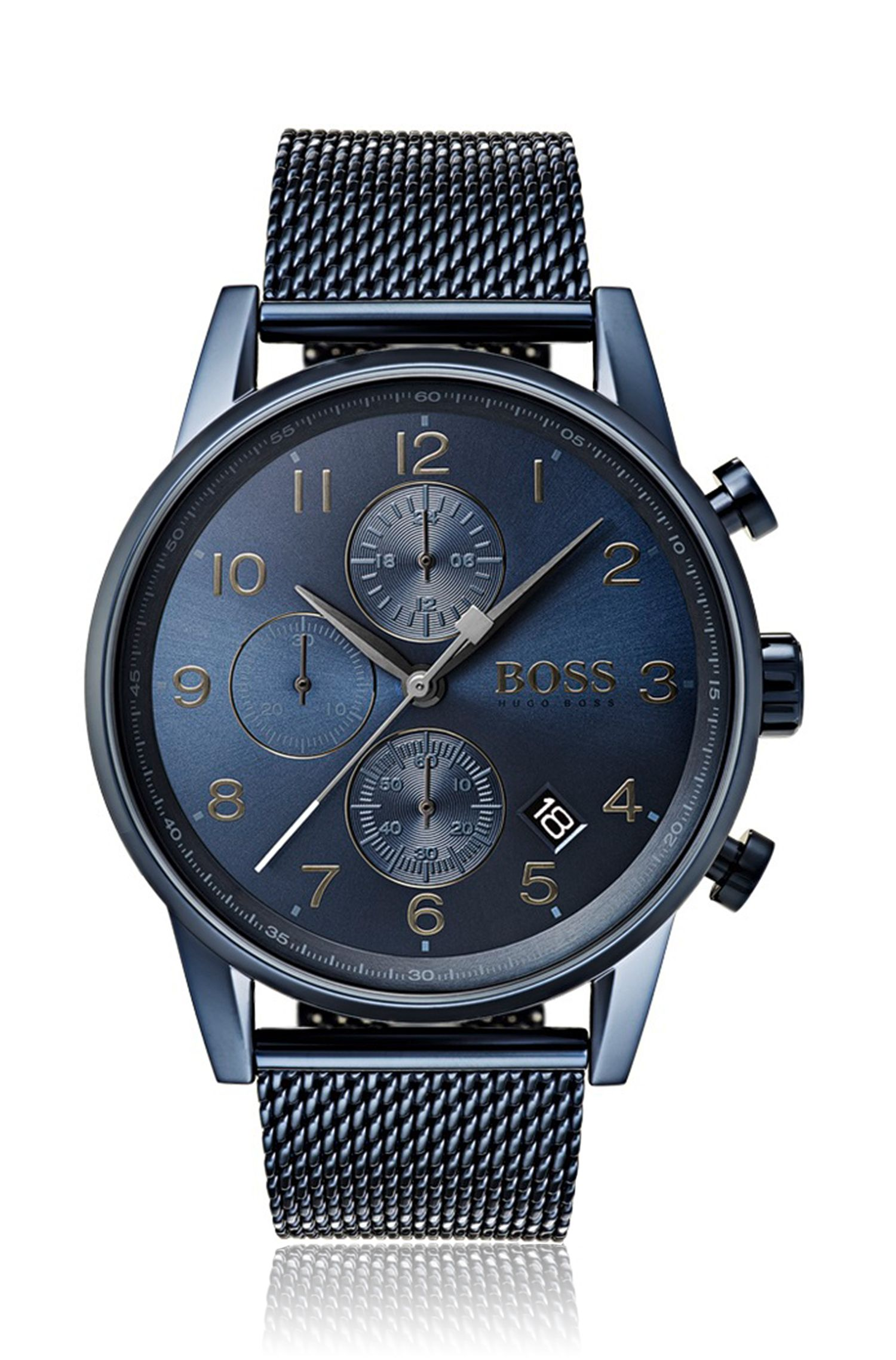 Blue-plated watch with a sliding buckle