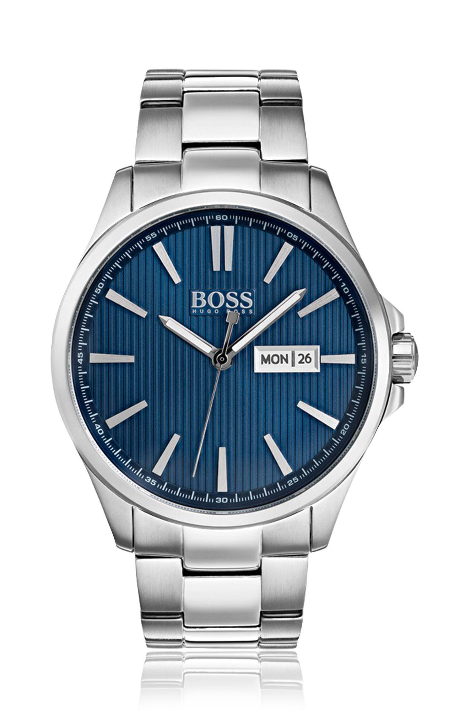 Horloge van roestvrij staal met blauw gestreepte wijzerplaat