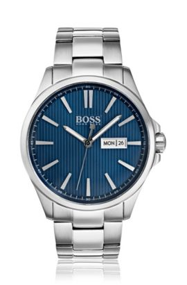Stainless-steel watch with blue striped dial, Assorted-Pre-Pack