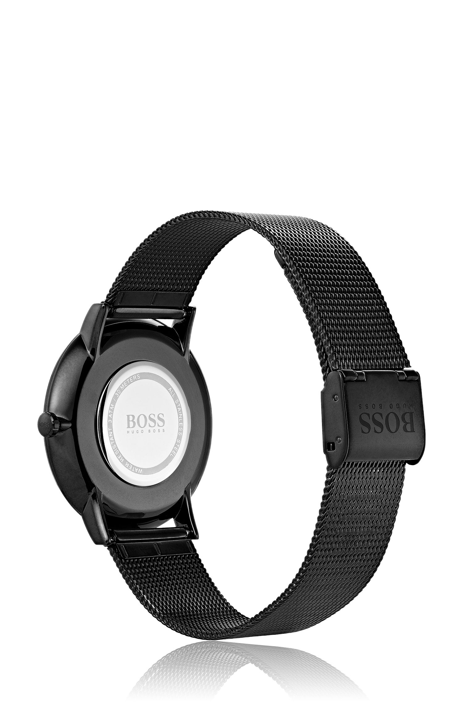 Quartz-movement watch with mesh bracelet, Black