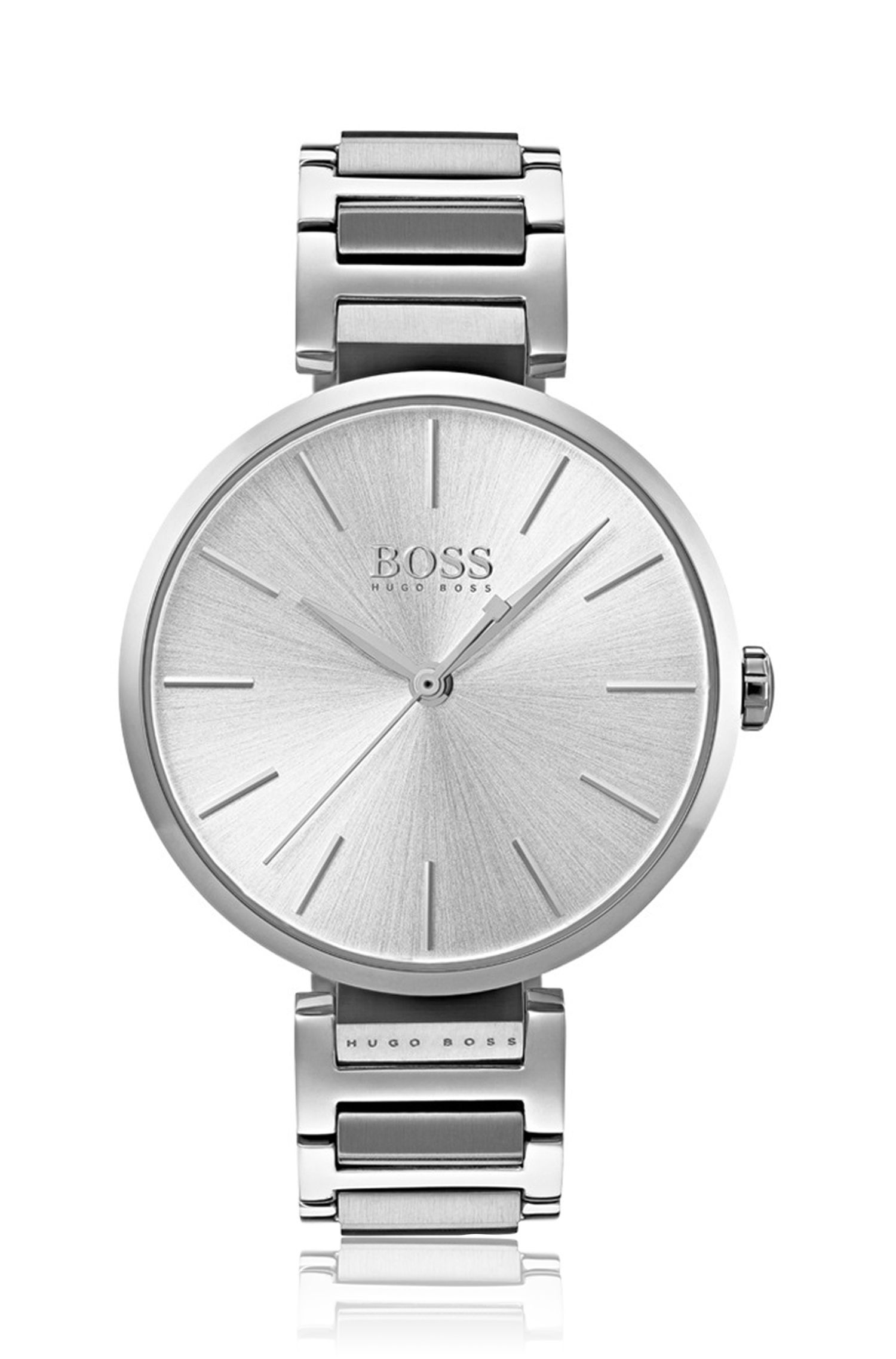Link-bracelet watch in brushed and polished steel