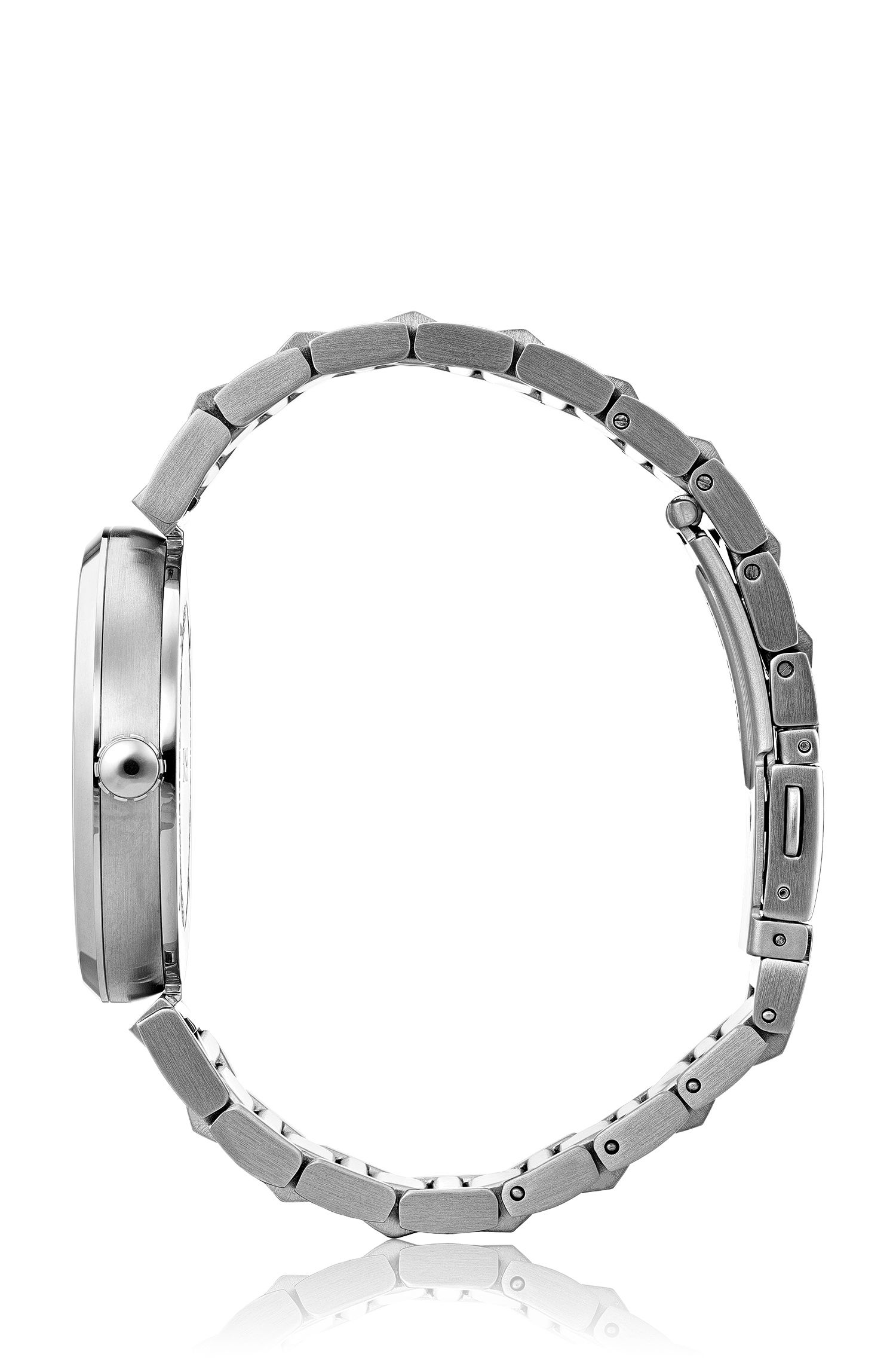Link-bracelet watch in brushed and polished steel, Assorted-Pre-Pack