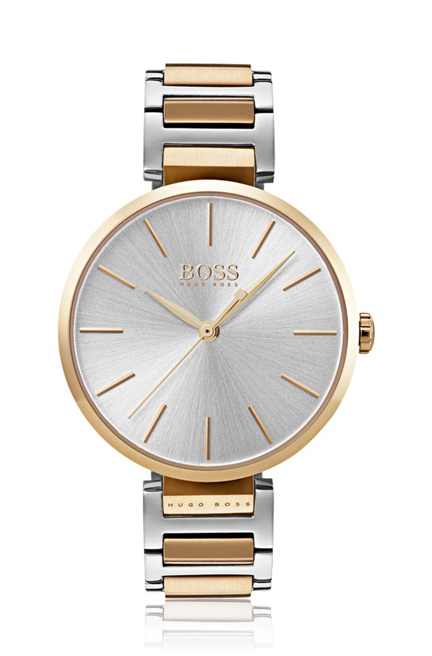 Link-bracelet watch with carnation-gold-plated accents