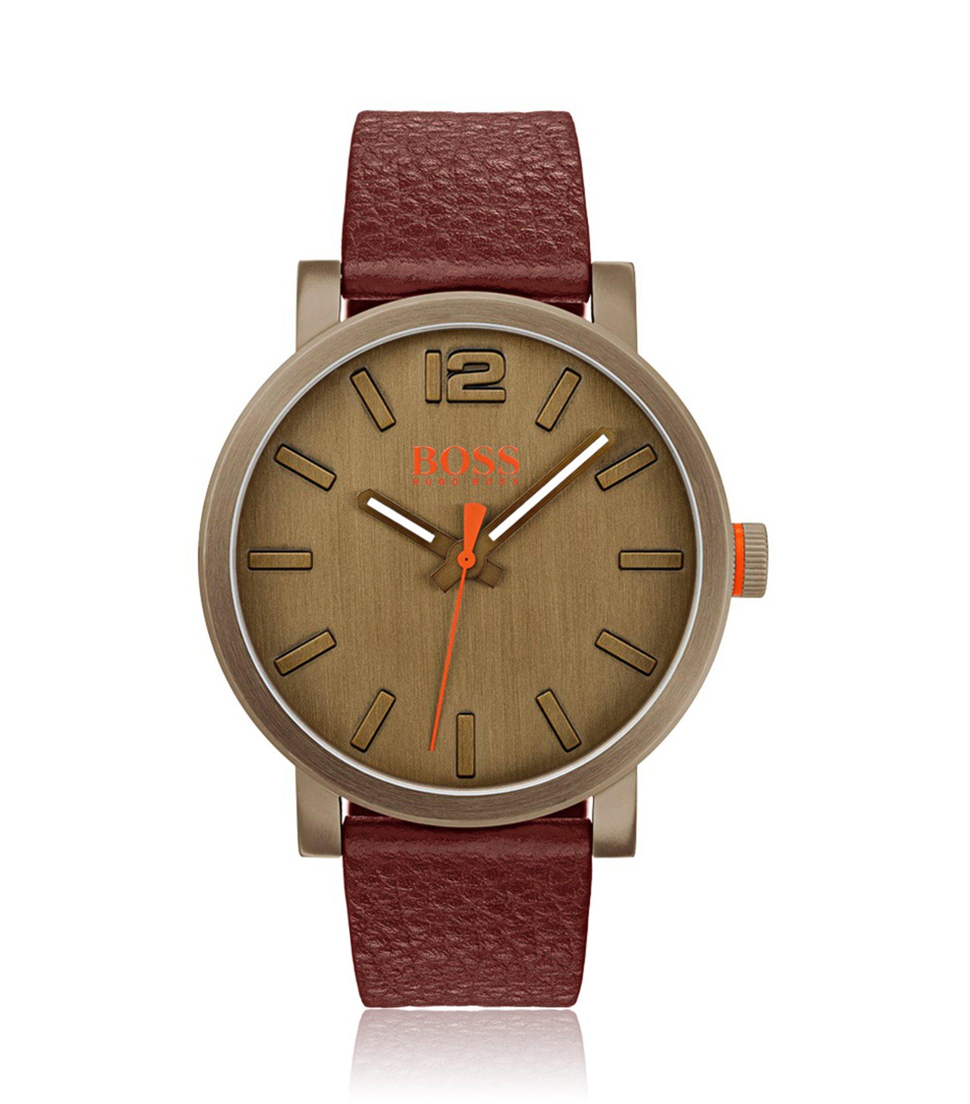 Reloj con correa de piel en acero inoxidable con chapado caqui, Assorted-Pre-Pack