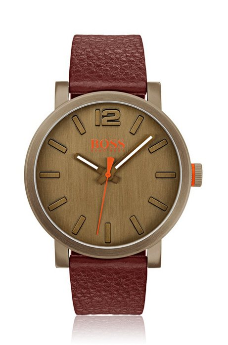 Leather-strap watch in khaki-plated stainless steel, Brown