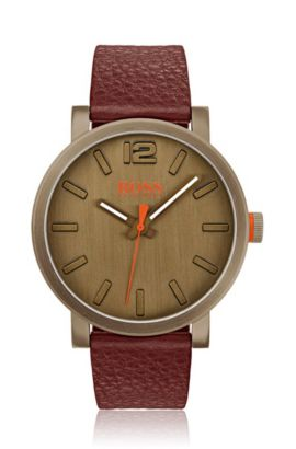 Leather-strap watch in khaki-plated stainless steel, Assorted-Pre-Pack