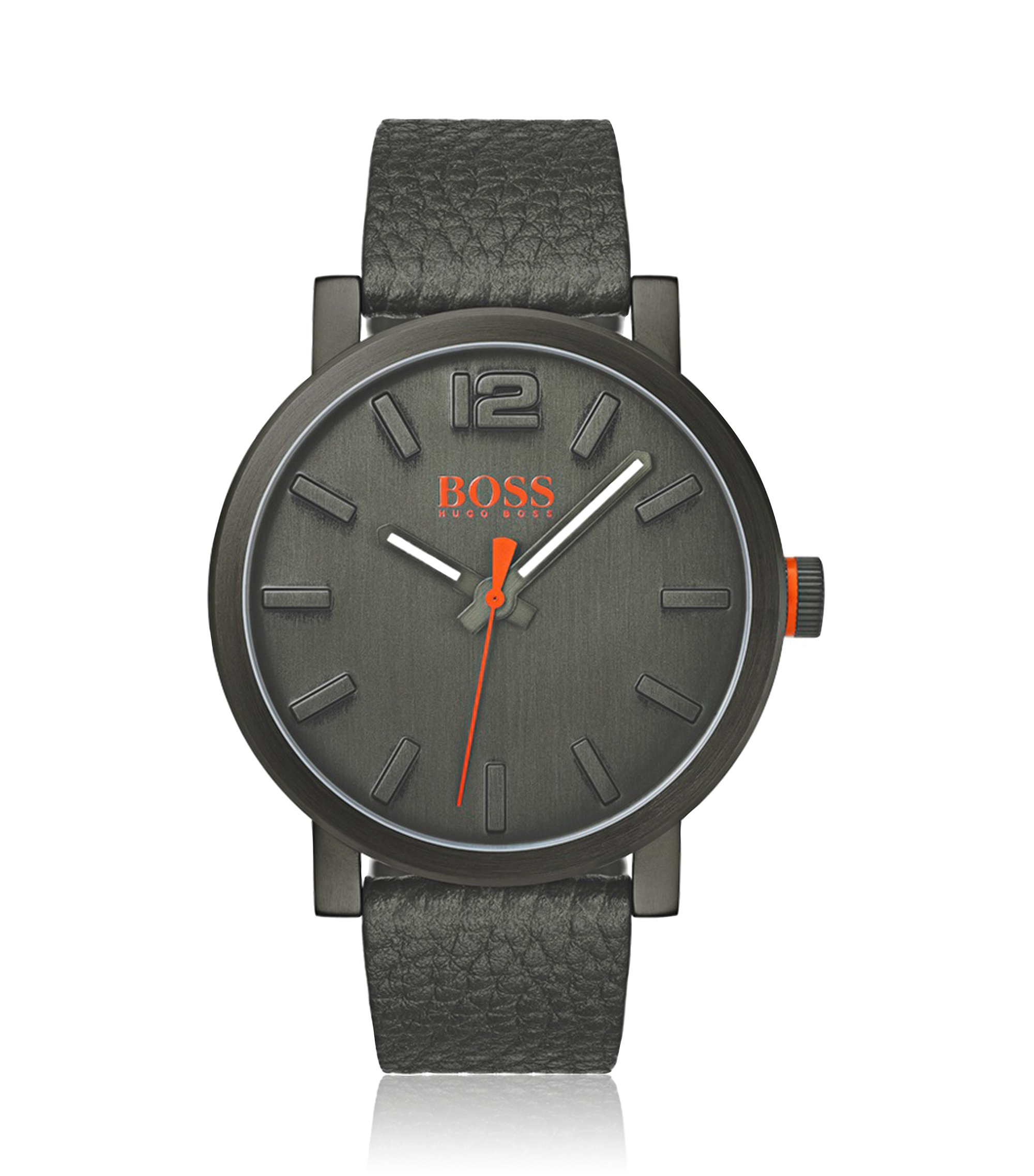 Grey-dial watch with textured-leather strap, Assorted-Pre-Pack