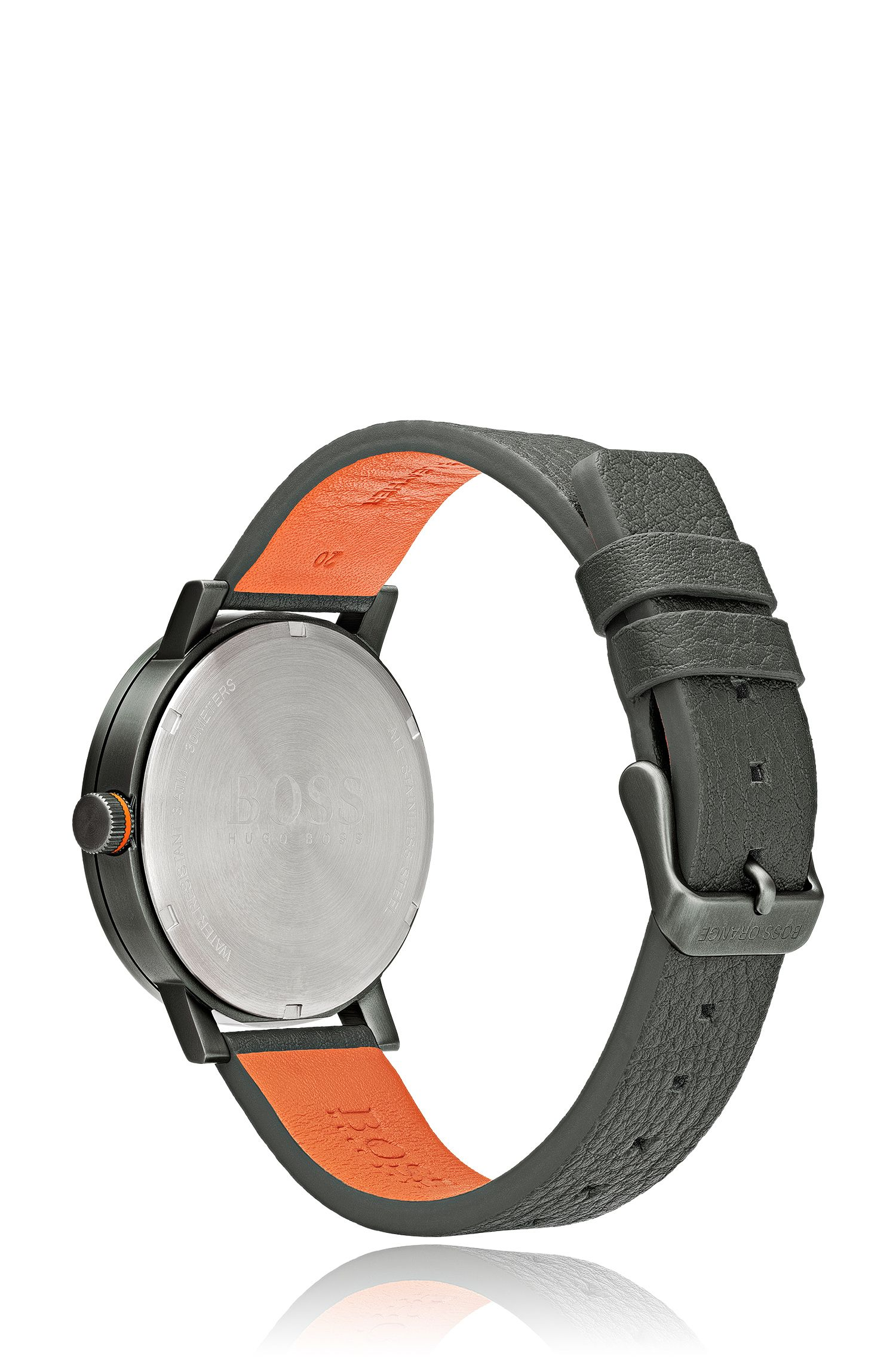 Grey-dial watch with textured-leather strap