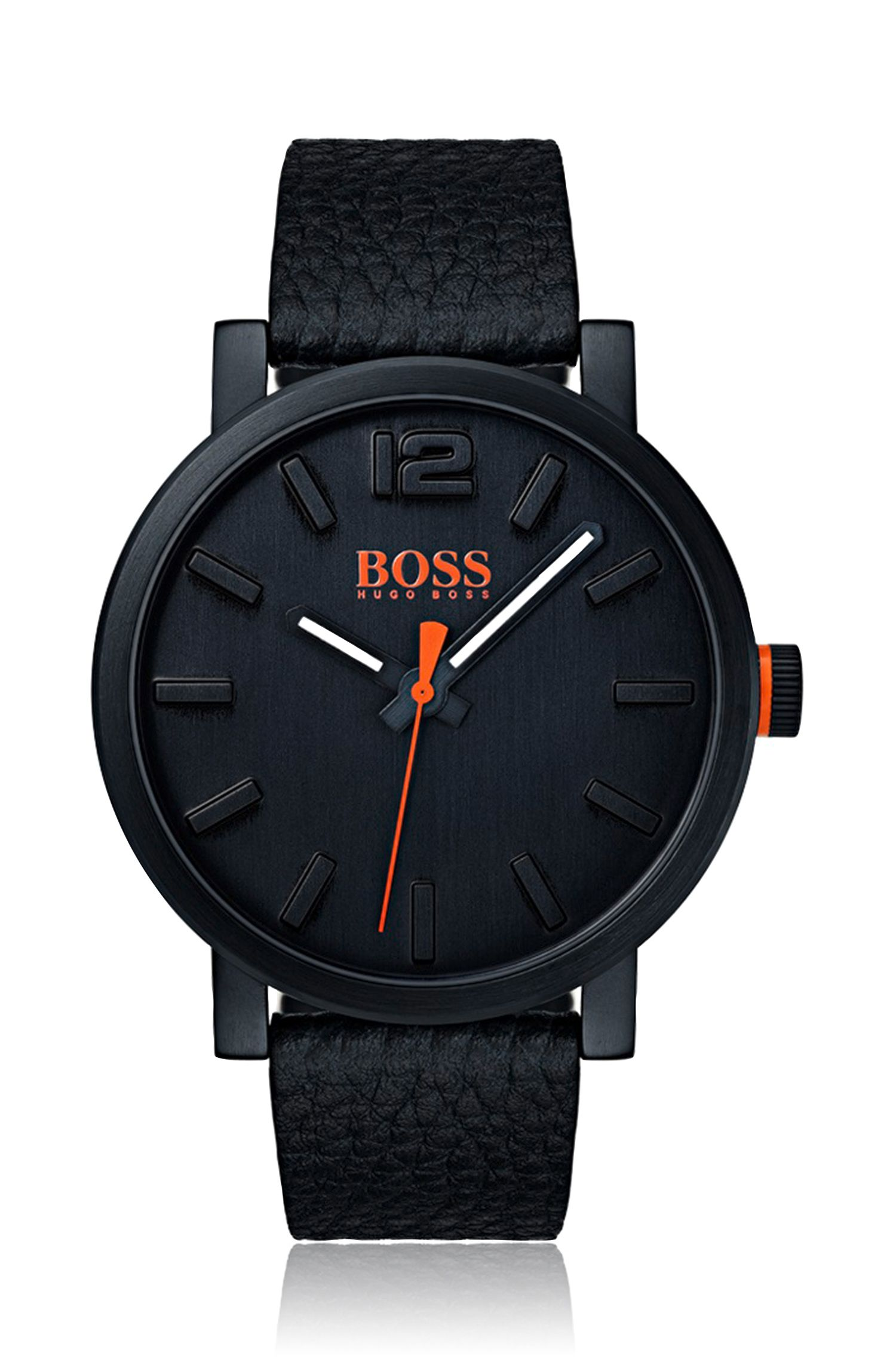 Leather-strap watch with contrast hands and black dial, Assorted-Pre-Pack