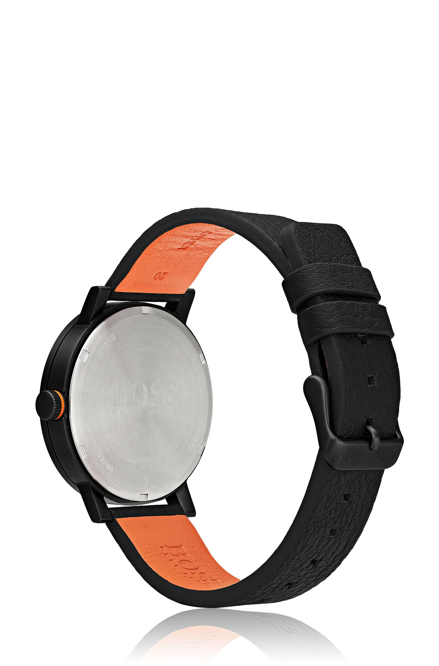 Leather-strap watch with contrast hands and black dial