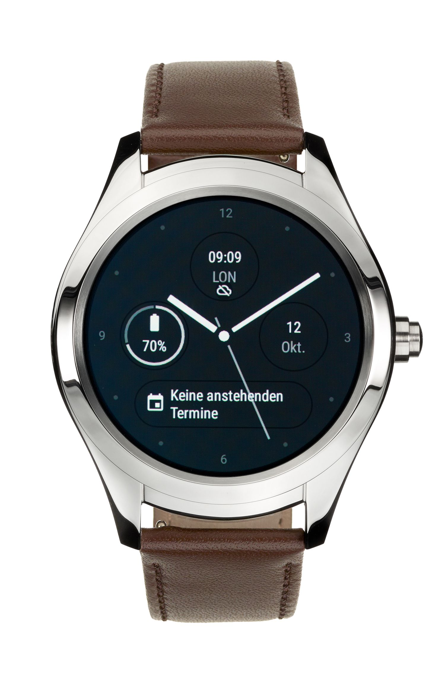 Montre intelligente tactile personnalisable en acier inoxydable, Marron