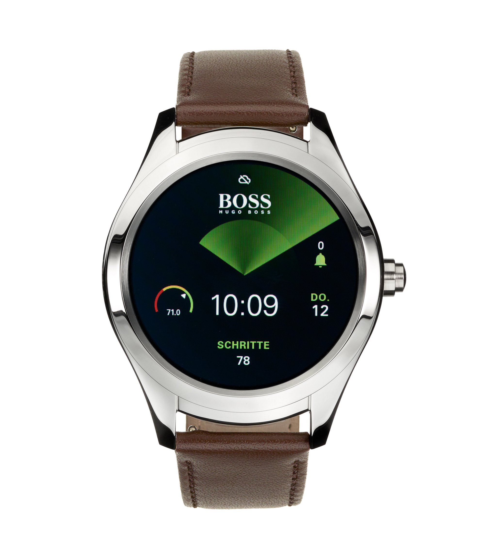Customisable Touch Smartwatch in stainless steel, Brown