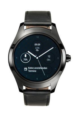 Touch Smartwatch van zwart ionisch verguld staal
