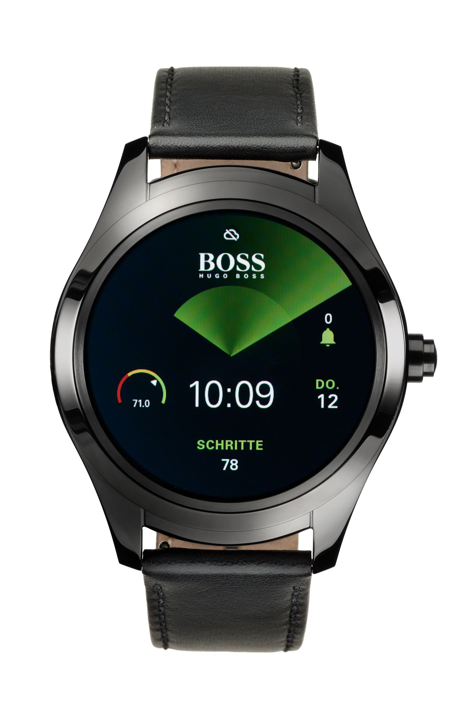 Touch Smartwatch in black ion-plated steel