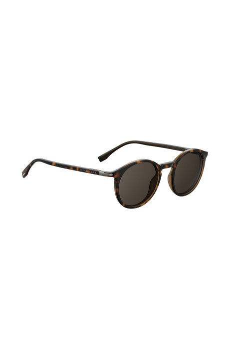 Round sunglasses in Havana optyl, Patterned
