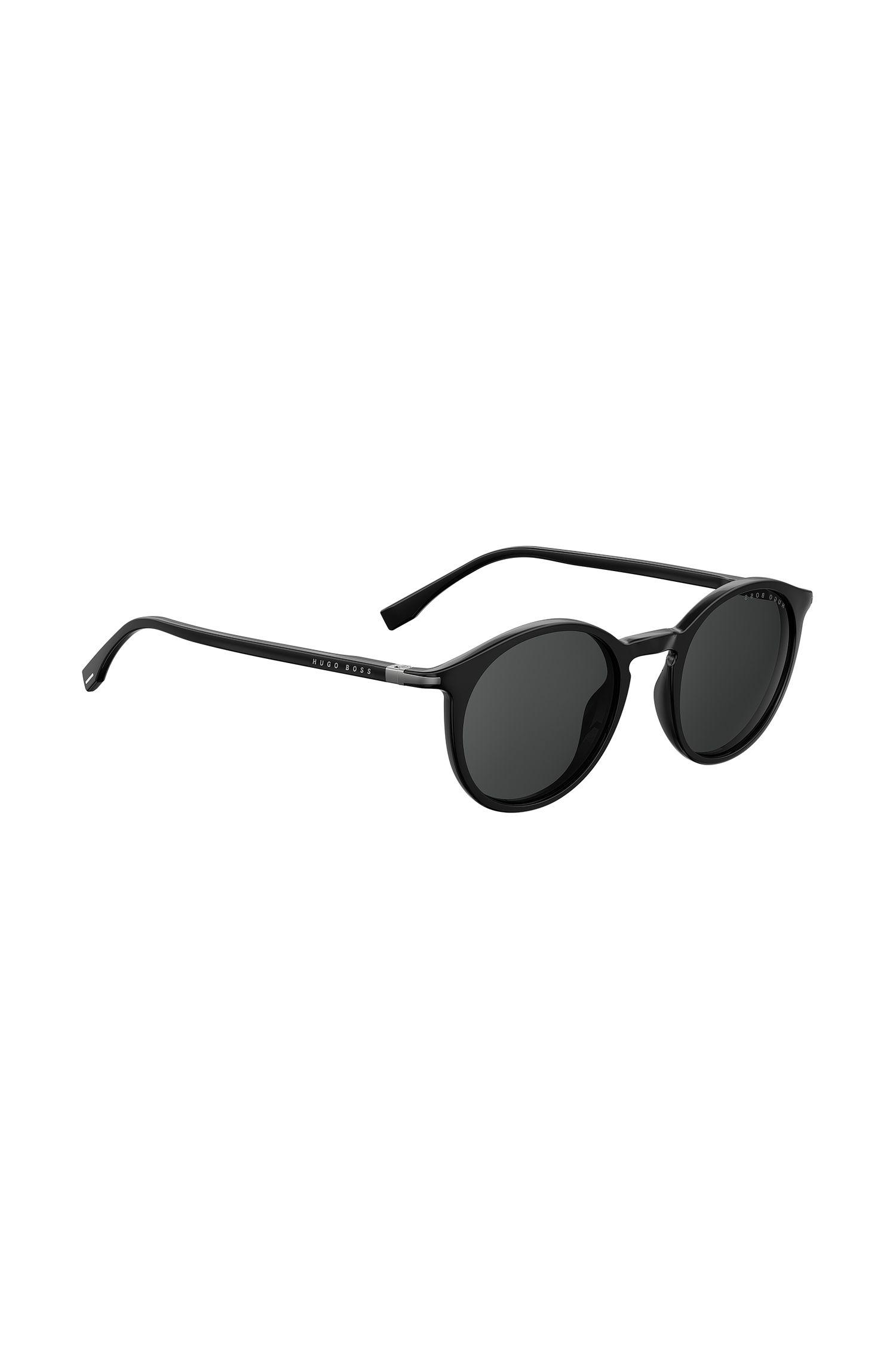 Round sunglasses in black optyl, Black