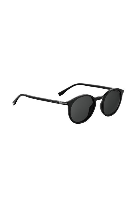 Round sunglasses in black optyl, Black