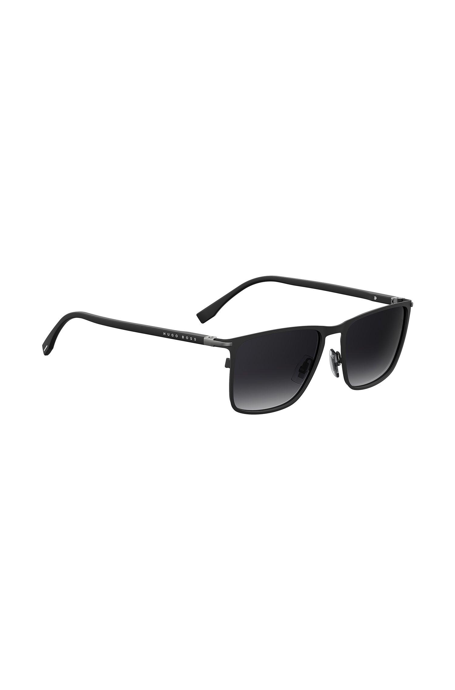 Rechteckige Sonnenbrille aus schwarzem Optyl, Schwarz