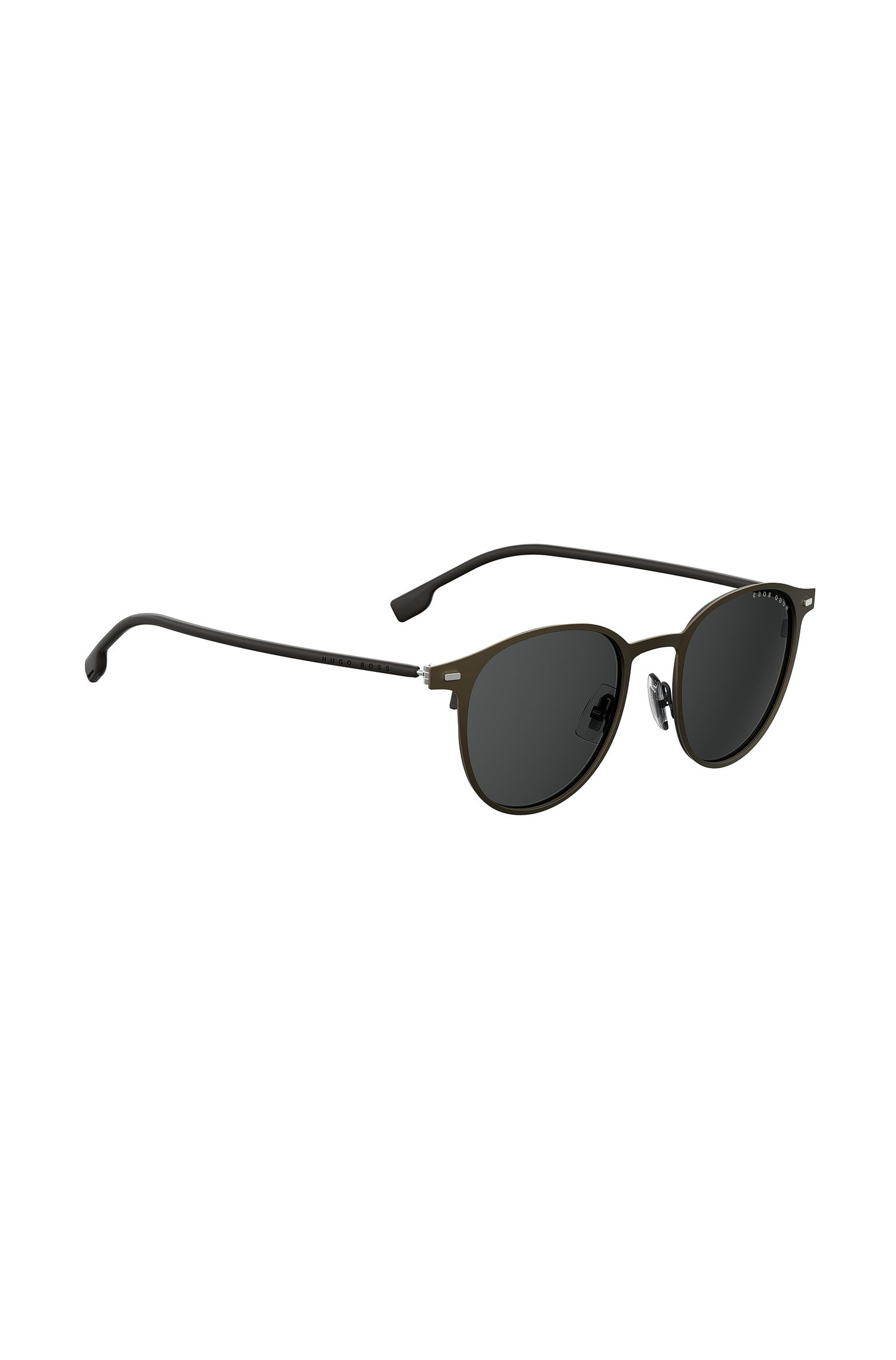 Round-frame sunglasses in khaki metal with rubber temples, Dark Brown