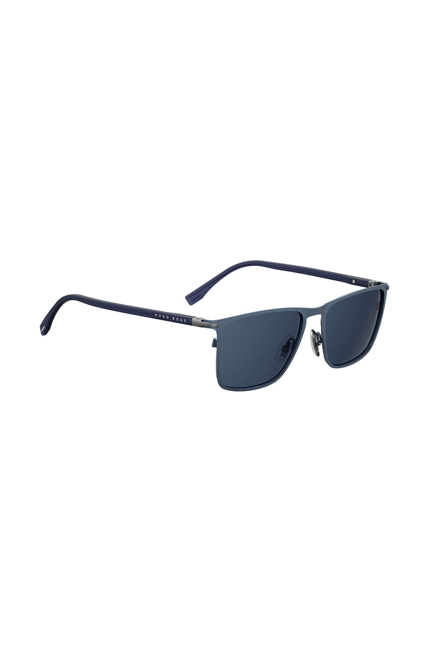 Rectangular sunglasses in blue optyl, Dark Blue