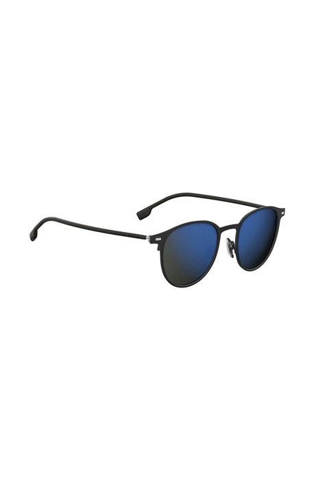 Black-steel sunglasses with mirrored lenses, Black