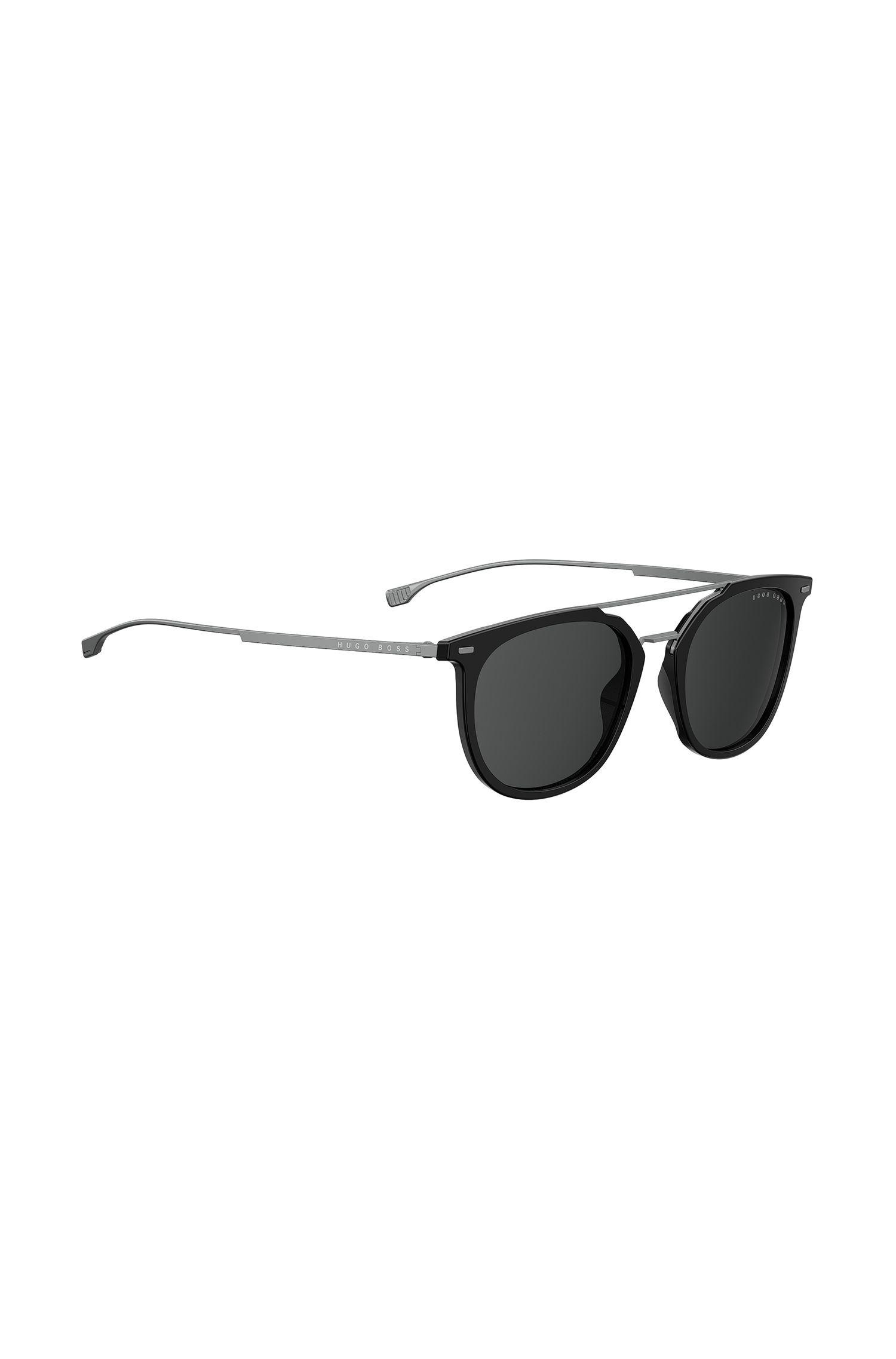 Double-bridge sunglasses in titanium and acetate, Black