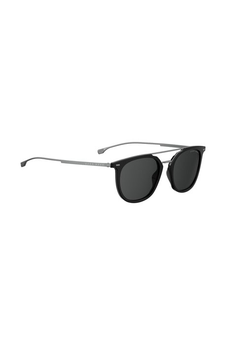 Double-bridge sunglasses in titanium and acetate, Black