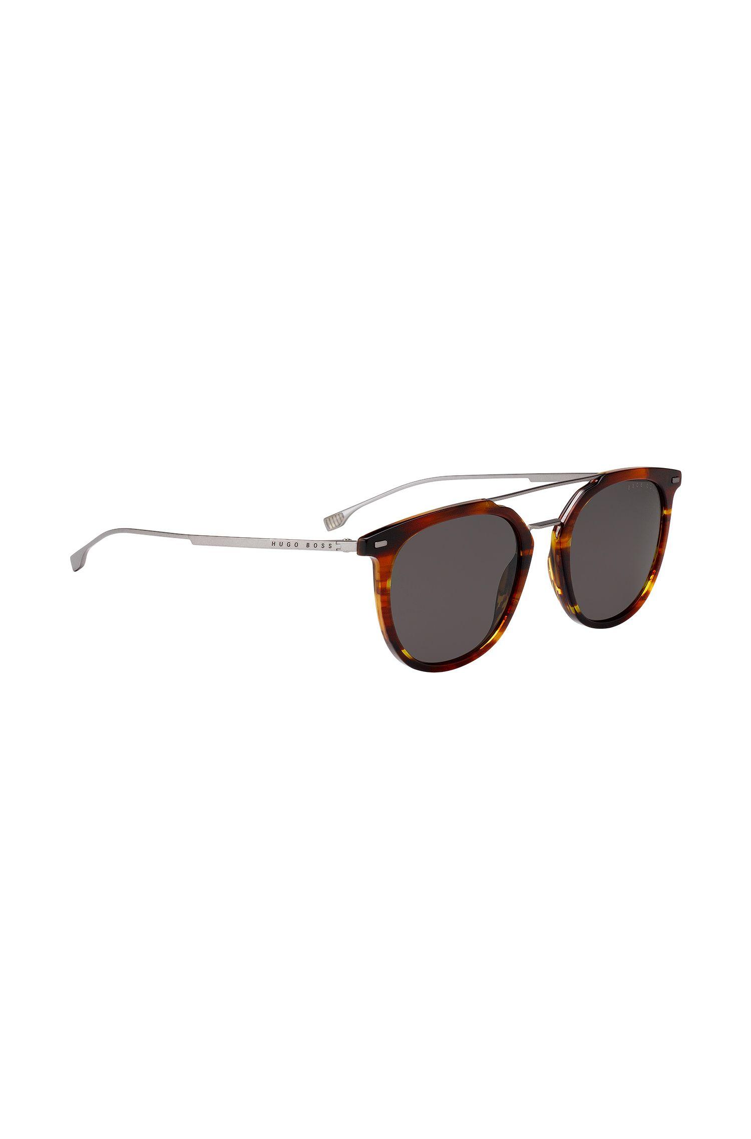 Double-bridge sunglasses with Havana frames, Brown