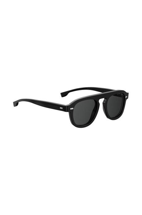 BOSS - Lunettes de soleil vintage avec monture en acétate noir 18e6e8b9a652