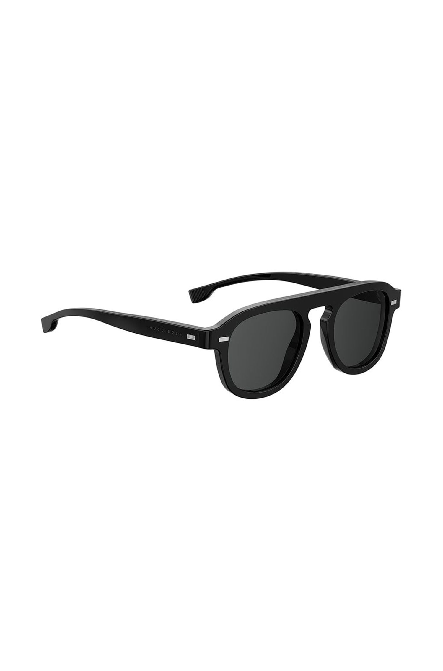 Vintage-inspired sunglasses with black acetate frames, Black