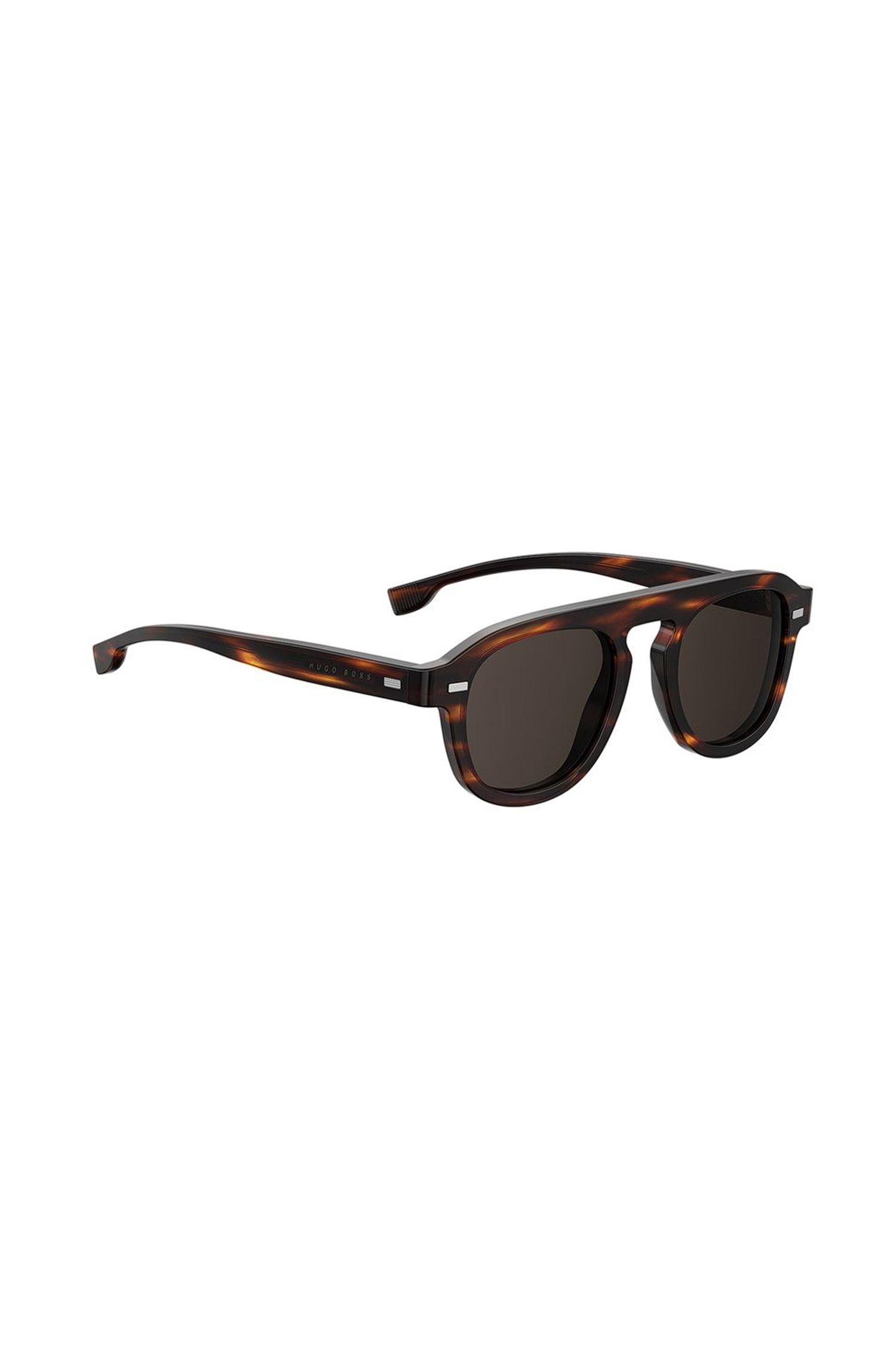 Sonnenbrille aus Acetat mit Havanna-Muster im Vintage-Stil, Gemustert