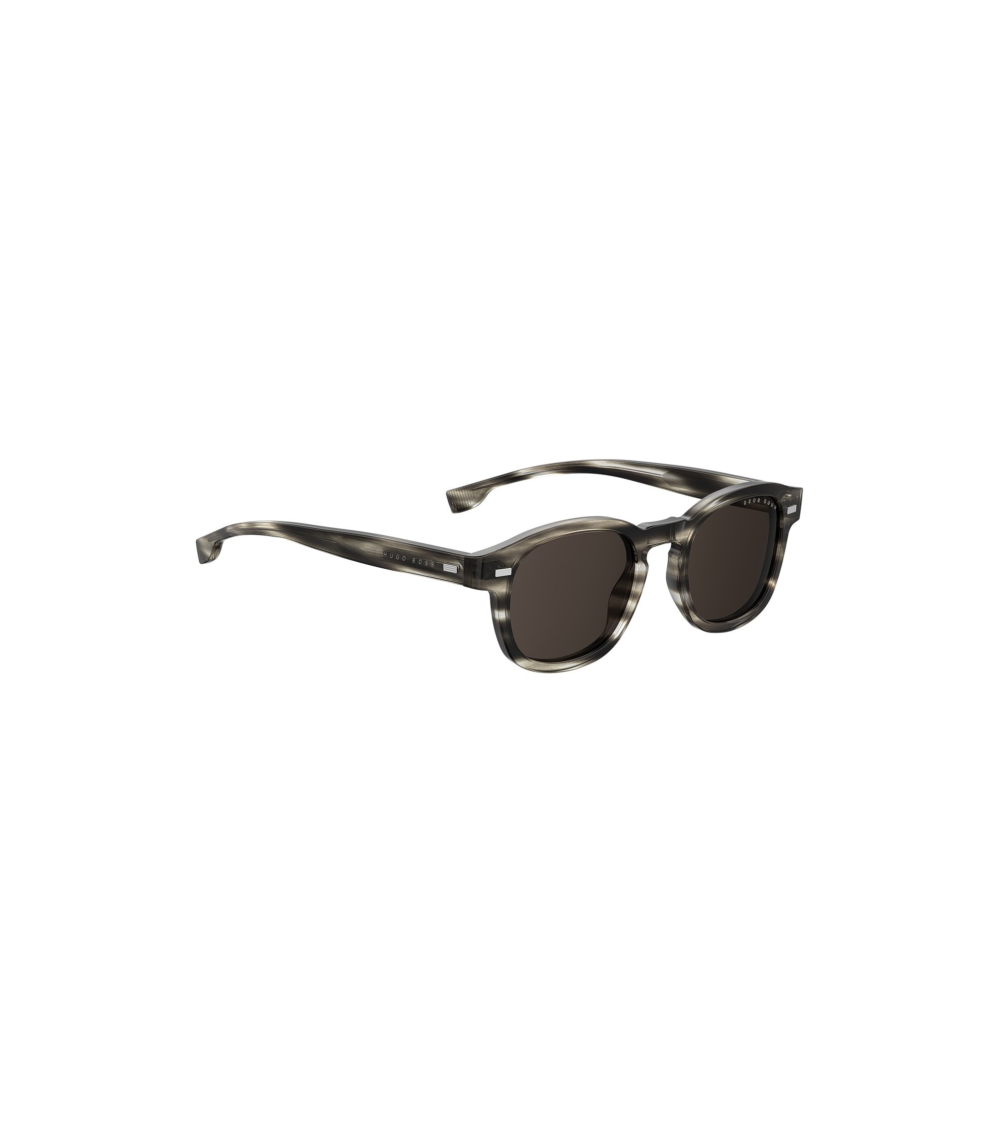 Keyhole-nose sunglasses in monochrome Havana acetate, Patterned