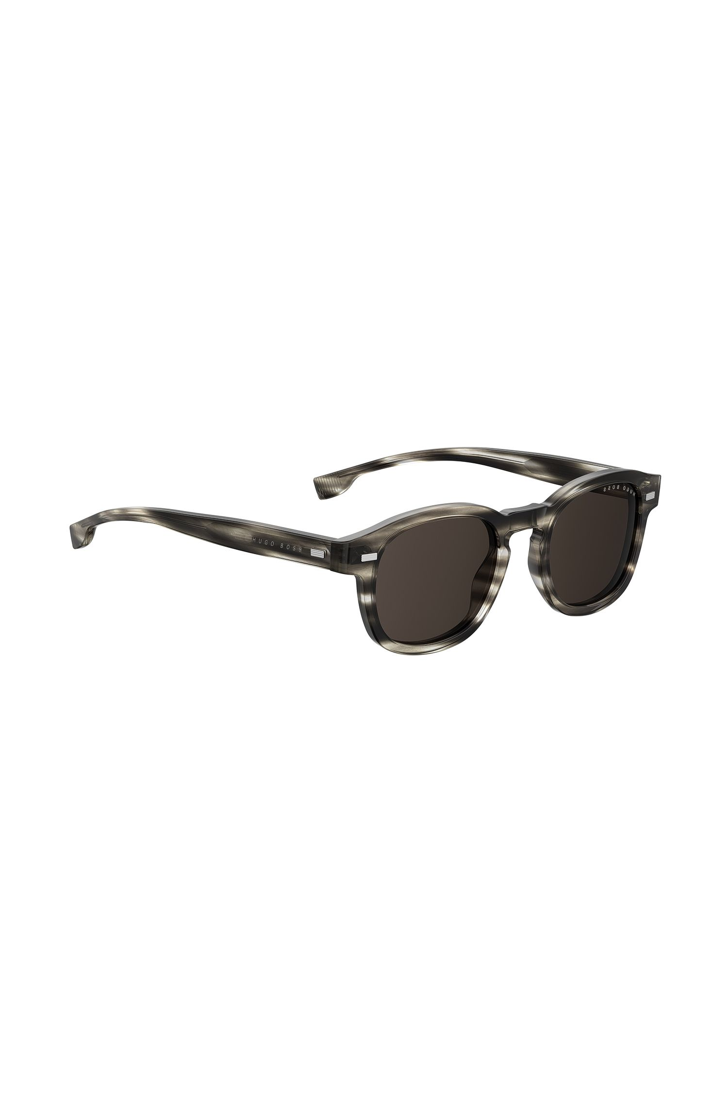 Keyhole-nose sunglasses in monochrome Havana acetate, Patterned