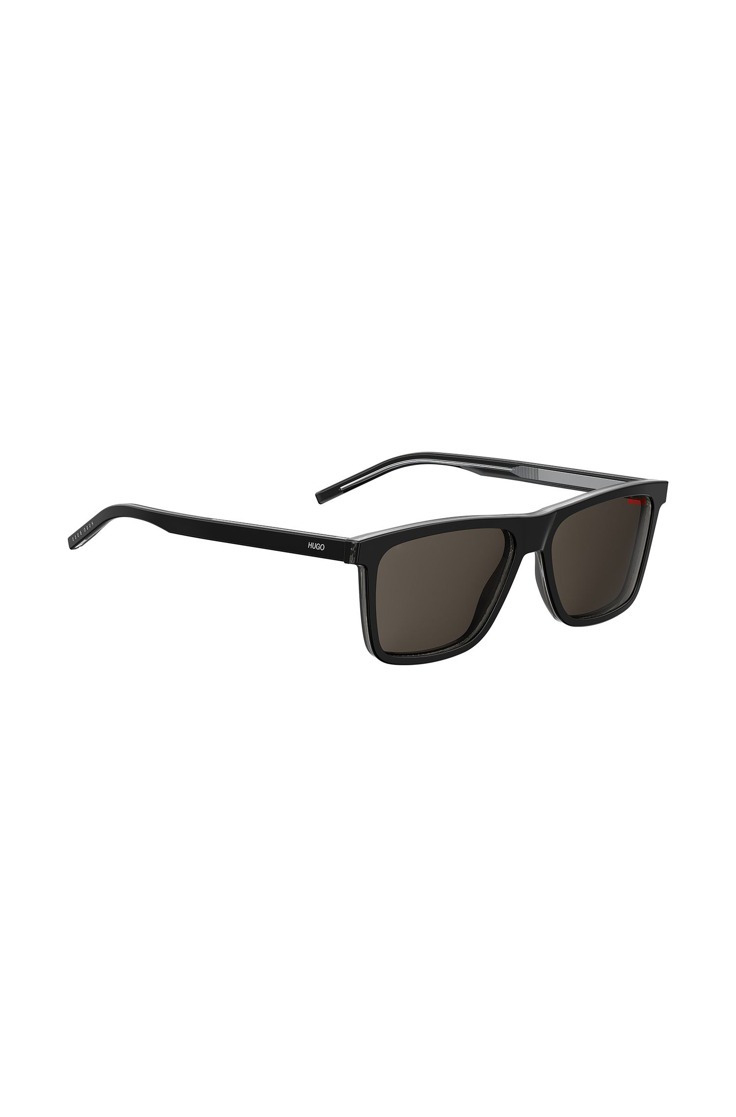 Sunglasses in black and transparent layered acetate, Black