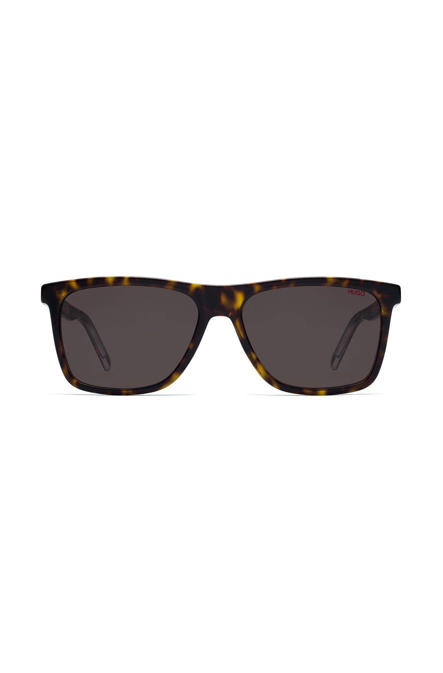 Donkere, transparante havana-zonnebril van gelaagd acetaat, Bedrukt
