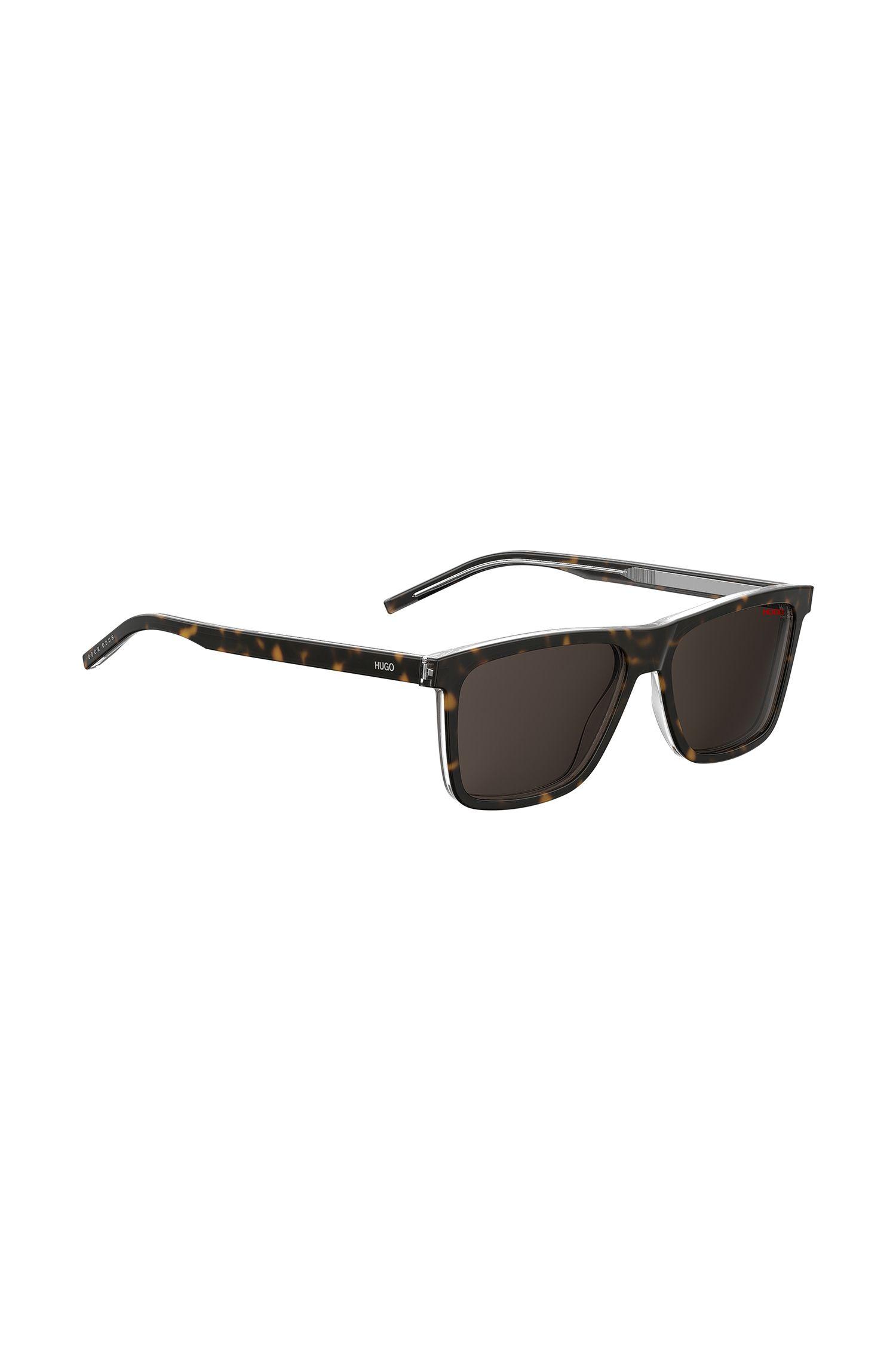 Sonnenbrille aus transparentem Acetat mit dunklem Havanna-Print, Gemustert