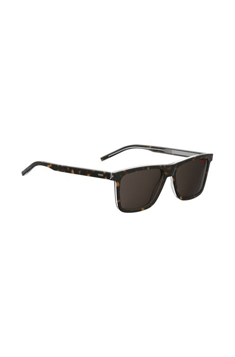 Dark Havana and transparent sunglasses in layered acetate, Patterned