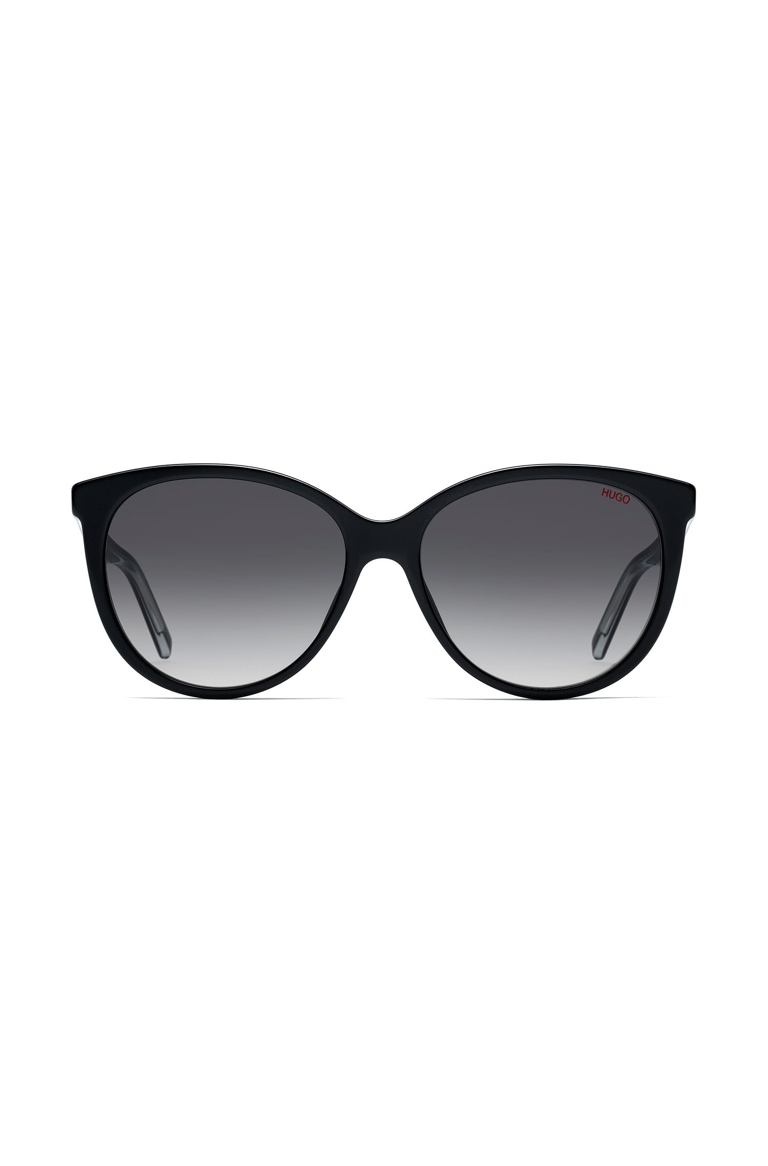 Reverse-logo sunglasses in black acetate, Black