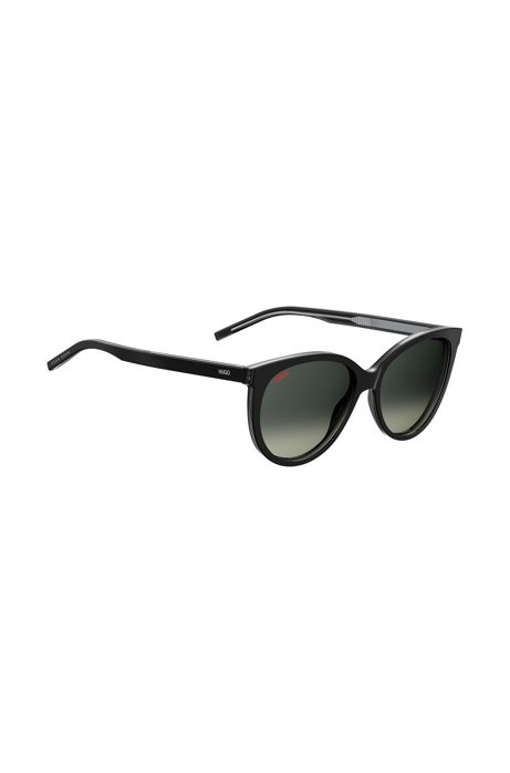 Zonnebril van zwart acetaat met gespiegeld logo, Zwart