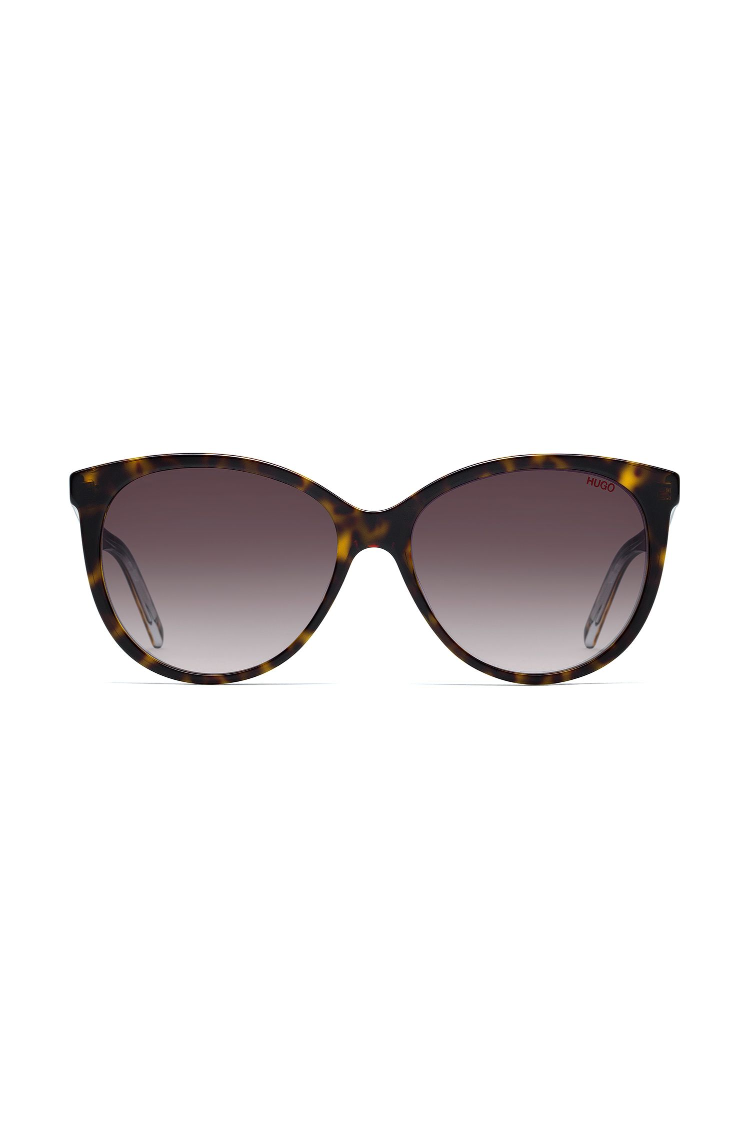 Reverse-logo sunglasses in dark Havana acetate, Patterned