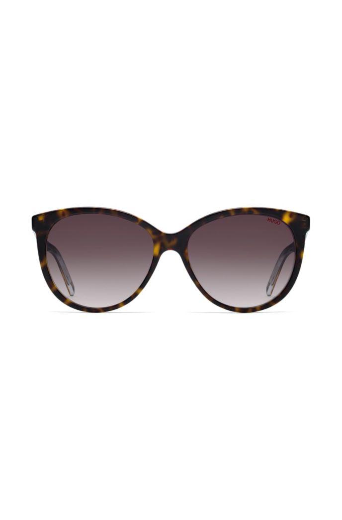 Reverse-logo sunglasses in dark Havana acetate