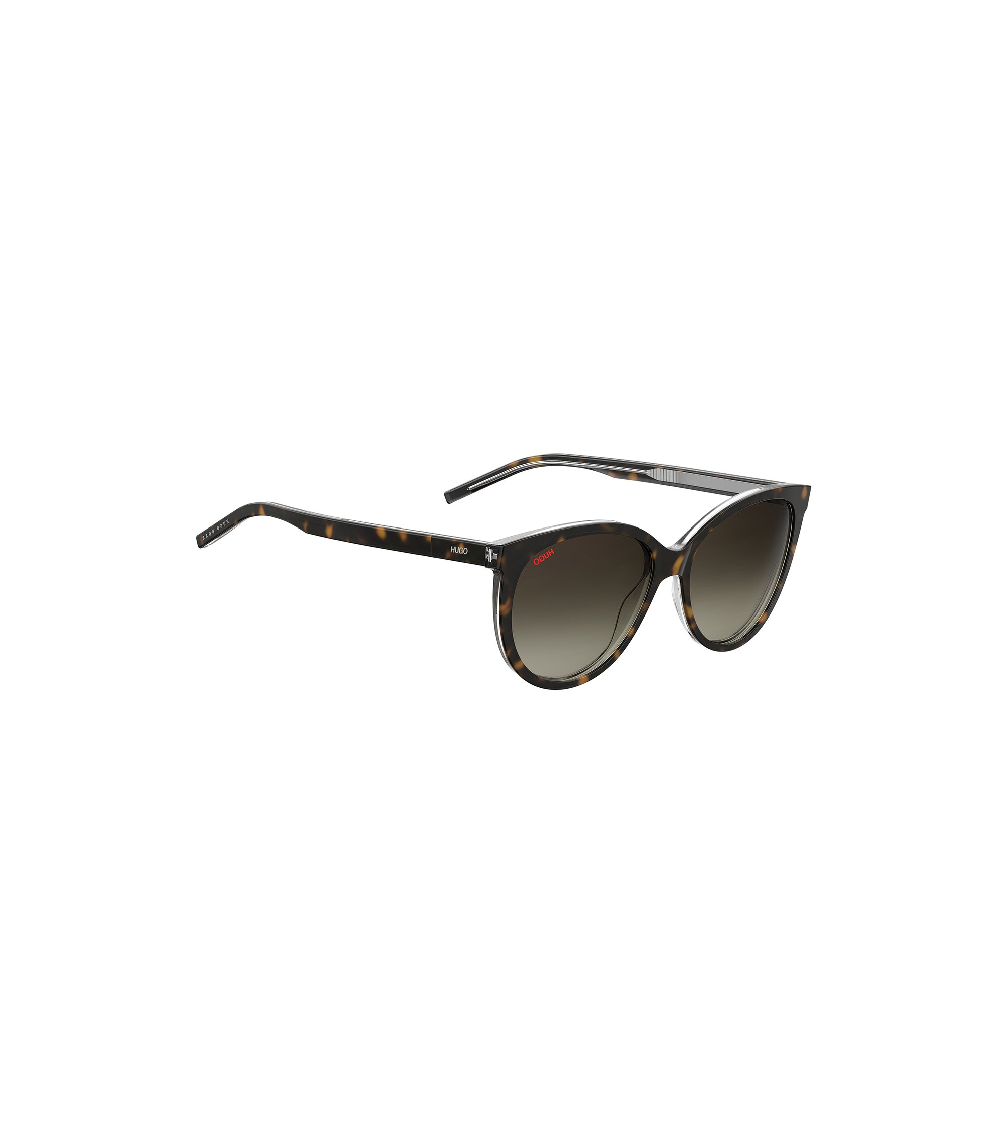 Reverse-logo sunglasses in dark Havana acetate, Patterned