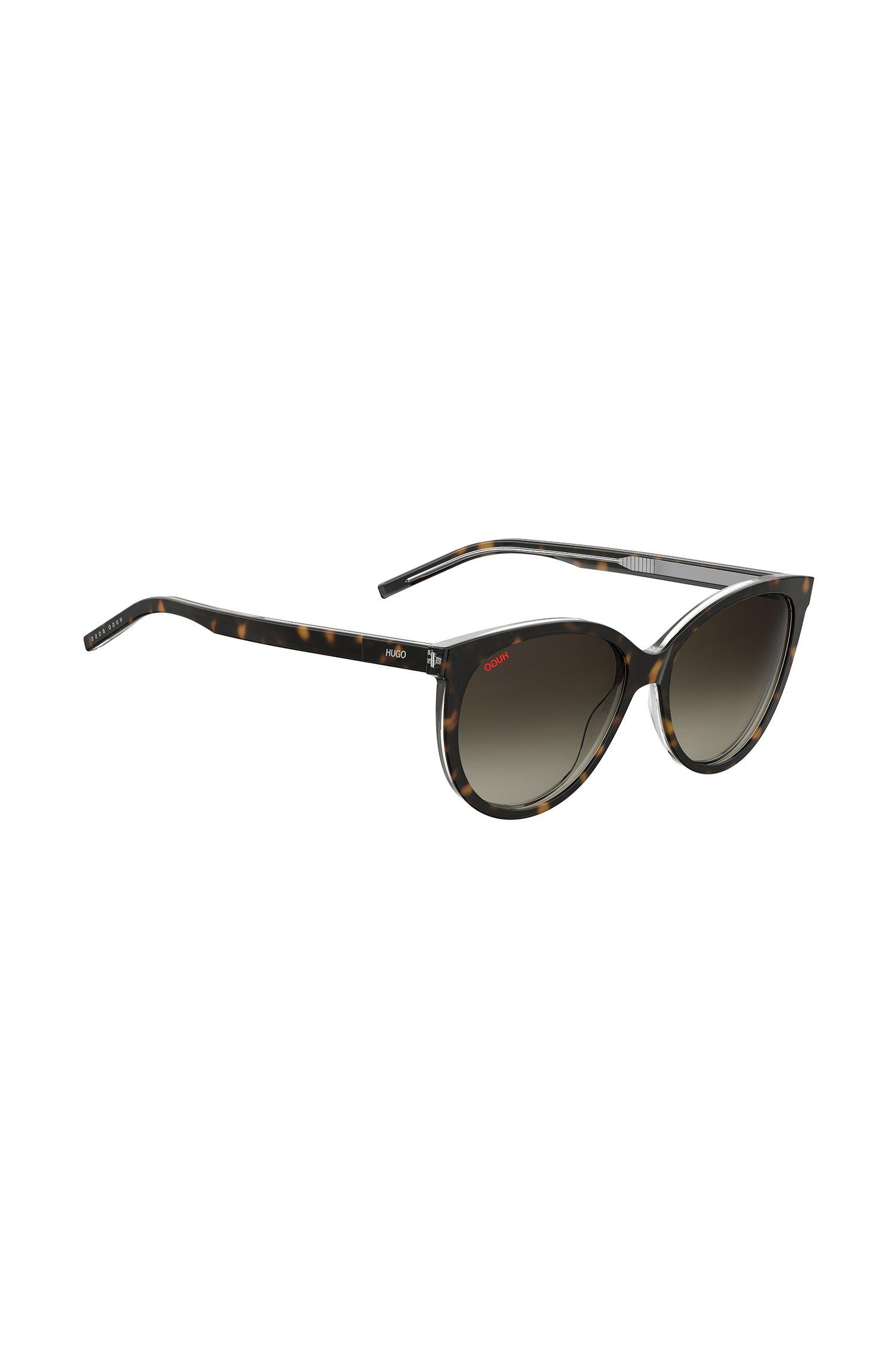 Sonnenbrille aus Acetat mit dunklem Havanna-Muster und Reversed-Logo, Gemustert