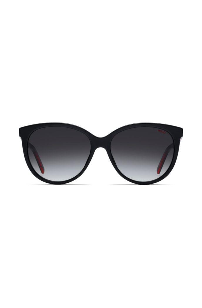 Reverse-logo sunglasses in dark-red acetate